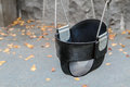 Empty black swings Royalty Free Stock Photo
