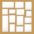 Empty blank white postage mark set stamps different size in color isolated on beige background with shadows vector illustration Royalty Free Stock Image