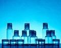 Empty blue glass bottles Royalty Free Stock Photo