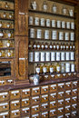 Empty bottles in old pharmacy Royalty Free Stock Photo