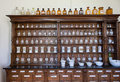 Empty bottles in old vintage pharmacy Royalty Free Stock Photo