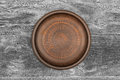 Empty brown ceramic plate on rustic