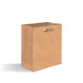 Empty brown paper bag with handles holes. Realistic kraft package with shadows isolated on white background. design