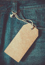 Empty brown paper tag of jean.