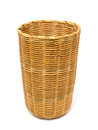 Empty brown wicker woven basket isolated Royalty Free Stock Photo