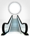 Empty bubble above escalator leading to upwards concept Royalty Free Stock Photo