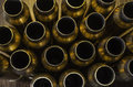 Empty bullet casings background an above shot of a bunch of Royalty Free Stock Images