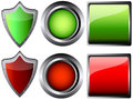 Empty button and shield  illustration Royalty Free Stock Photography