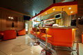 Empty cafe bar interior orange tones Royalty Free Stock Photo