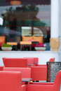 Empty cafe outdoor waiting for customers Royalty Free Stock Photo