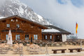 Empty cafe at the top of the Zugspitze Royalty Free Stock Photo