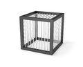 Empty cage miniature prison isolated with small cell secured with strong bars Royalty Free Stock Images