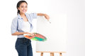 Empty canvas isolated portrait of an artist standing near the ready to draw Stock Images