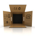 Empty carton box for goods transportation illustration Royalty Free Stock Photography