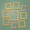 Empty cartoon photo frames on green wall. Retro wooden picture frame set vector illustration Royalty Free Stock Photo