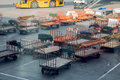Empty carts for Luggage standing in airport Royalty Free Stock Photo