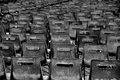 Empty chairs grey in rows Stock Images