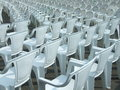 Empty chairs some on open air concert Stock Photo