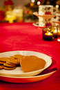 Empty christmas dinner table Royalty Free Stock Photography