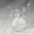 Empty christmas ornament and splash on crumpled paper background Stock Photos