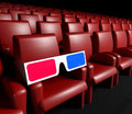 Empty cinema hall and 3d glasses Royalty Free Stock Image