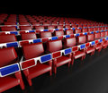 Empty cinema hall and 3d glasses Royalty Free Stock Images