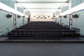 Empty cinema hall, view from the screen. Royalty Free Stock Photo