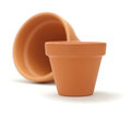 Empty clay pot with blur effect over white background Stock Photography