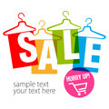 Empty clothes hangers with tag. Inscriptions Clearance sale and Hurry up.