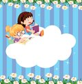 An empty cloud template with two girls reading illustration of Royalty Free Stock Images