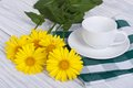 Empty coffee cup and saucer with yellow daisies Royalty Free Stock Photo
