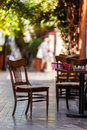 Empty coffee terrace with tables and chairs Royalty Free Stock Photo