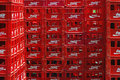 Empty cola crates lots of coca stacked up coca co is the leading carbonated soft drink company in the us and coca is the Stock Photography