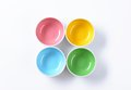 Empty colored bowls Royalty Free Stock Photo