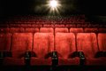 Empty comfortable seats in cinema red with numbers Royalty Free Stock Images
