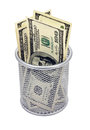 Empty container banknotes dollar Royalty Free Stock Images