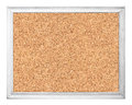 Empty cork board in white wooden frame isolated on Royalty Free Stock Photo