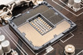 Empty cpu socket on computer motherboard Royalty Free Stock Photos