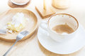 Empty cup of coffee and soiled cake plate Royalty Free Stock Photo
