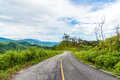 Empty curved asphalt road on green forest on mountain with cloudy sky Royalty Free Stock Photo