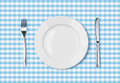 Empty dinner plate top view on blue picnic table cloth tablecloth Stock Image