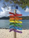 Empty direction road colorful wooden signs with sand beach, turquoise waters and sky on background. Funny signpost with empty Royalty Free Stock Photo