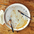 Empty dirty plate Royalty Free Stock Photo
