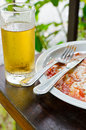 Empty dish and drink closeup to Stock Photography