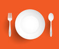 Empty dish fork and spoon placed alongside on orange background vector illustration Stock Photos