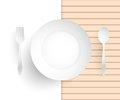 Empty dish fork and spoon placed alongside on wood floors vector illustration Royalty Free Stock Images
