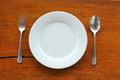 Empty dish and spoon fork Royalty Free Stock Photo