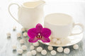 Empty dishes with orhid flower and white candies Royalty Free Stock Photo
