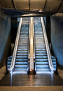 Empty double escalator Royalty Free Stock Photo