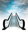 Empty escalator leading to sky concept render Royalty Free Stock Photo